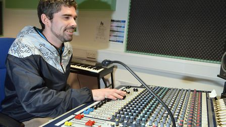 Studio engineer Alex Pinkerton in the in-house recording studio at St Mungo's hostel. Picture: Polly