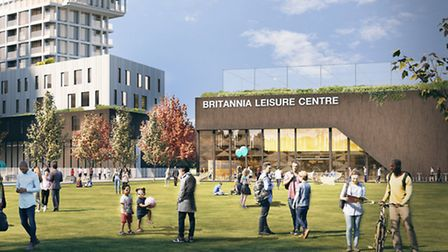 A computer generated image of what the new Britannia Lesiure centre site development could look like