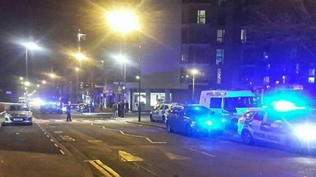 The scene of the stabbing in Woodberry Grove was taped off by police (Photo: @Shomrim)