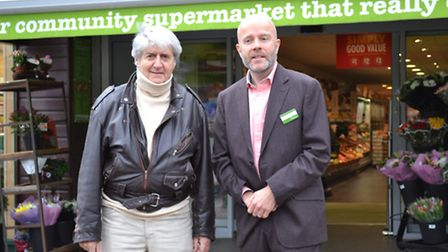 Tom Conti and Andrew Thornton outside Thornton's Budgens in Haverstock Hill