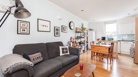 The flat has a bright new kitchen and bathroom and pleasing features including sash windows