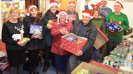 The Lowestoft Lions have been busy this week filling 60 hampers with festive food destined to bring