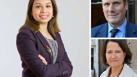 Tulip Siddiq (left), Keir Starmer (top right) and Catherine West