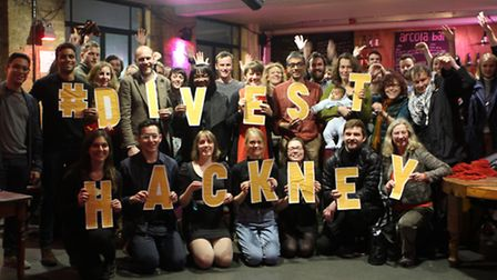Divest Hackney members last year during their campaign for Hackney Council to take its pension funds