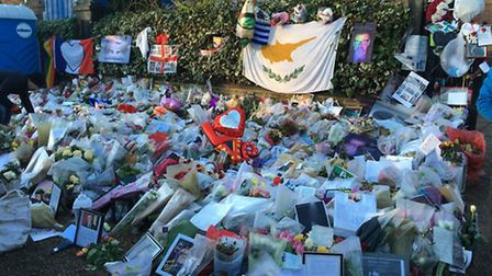 A sea of flowers outside George Michael's home in Highgate