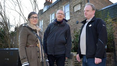 Lisa Shell, John Finn and Nick Perry of the Hackney Society on Sanford Terrace (Photo: Polly Hancock