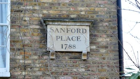 Sanford Place plaque on the original row of Terrace Houses saved from demolition by the Hackney Soci