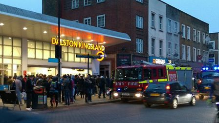 Dalston Kingsland was evacuated after a fire alert this morning. Picture: Ramzy Alwakeel