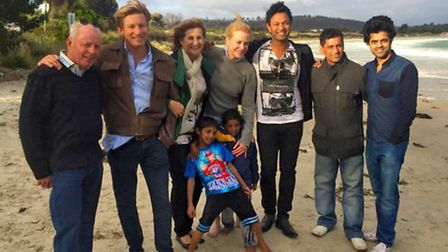 Divian Ladwa with cast and real life counterparts in Australia