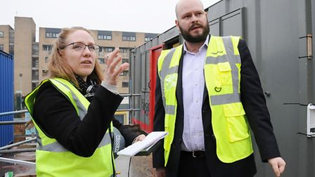 Mayor of Hackney Philip Glanville is interviewed by reporter Emma Youle at the King's Crescent Estat