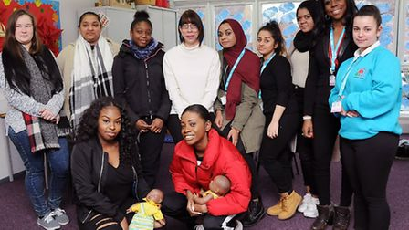 Students and teacher Sam Hawkins with Tara Burgin, second right. Picture: Dieter Perry