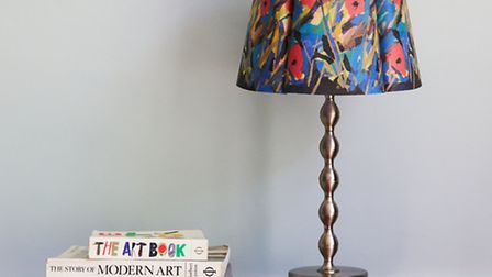The lampshades are based on Freeborn's paper collage artworks