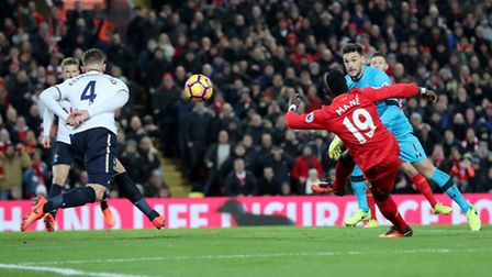 Liverpool's Sadio Mane scores his side's second goal of the game against Tottenham during the Premie