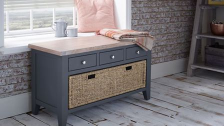 The Storage Bench with Drawers & Basket, Downpipe, £425, available from Aplaceforeverything.co.uk. P