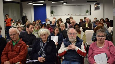 Shirley Murgraff (centre left) at a public meeting to discuss the NHS' proposed Sustainability and T