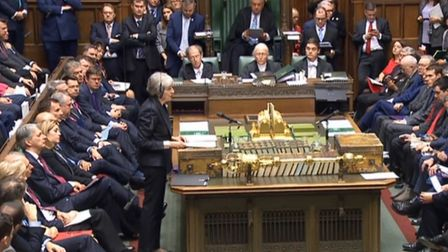 Theresa May in House of Commons (Photograph: Parliament TV)