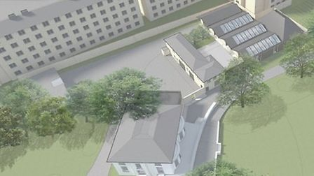 An artist's impression of the stables conversion and new community and events space proposed for Spr
