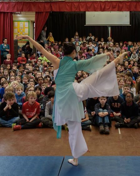 A demonstration of Chinese ballet at Highgate Primary School.