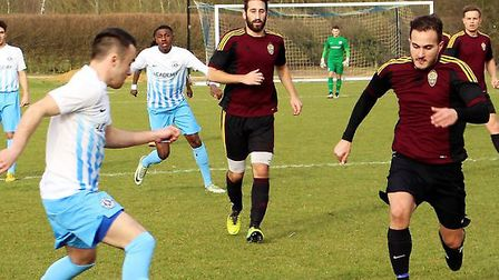 Simon Lawrence bagged a hat-trick as Hampstead Heath beat AFC Oaklands 3-2. Picture: MARTIN WRAY