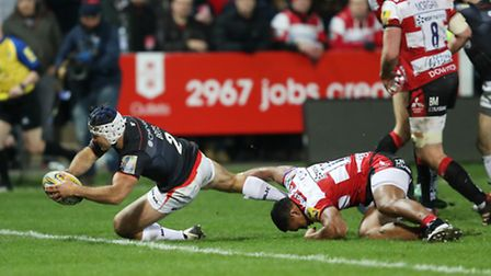 Saracens' Schalk Brits scores their first try during the Aviva Premiership match at the Kingsholm St
