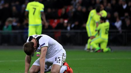 Tottenham Hotspur's Eric Dier looks dejected after Gent score their second goal of the game (pic Joh