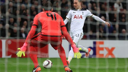 Tottenham Hotspur's Christian Eriksen scores in their Europa League clash against Gent (pic Mike Ege
