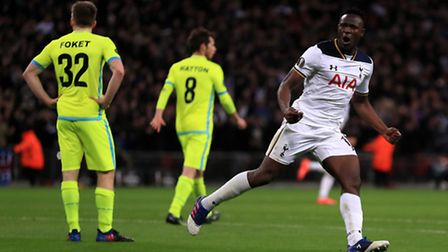 Tottenham Hotspur's Victor Wanyama celebrates scoring his side's second goal against Gent (pic Mike