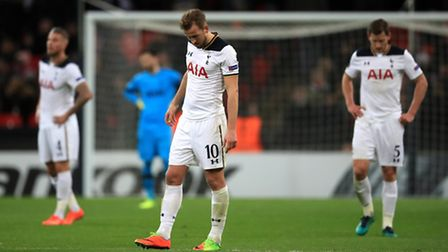 Tottenham Hotspur's Harry Kane looks dejected after their Europa League exit (pic Mike Egerton/PA)