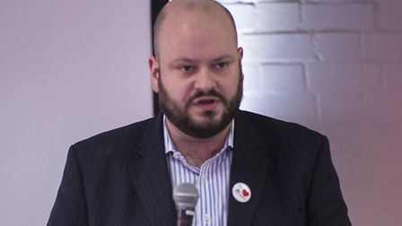 Philip Glanville speaking at the meeting at Hackney House. Photo: Sarah Ainslie