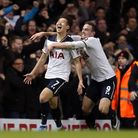 Heung-Min Son (left) celebrates with Vincent Janssen after scoring Tottenham's late winning goal. Pi