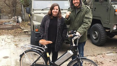 Alexandra Prut with Ben Jaconelli, who recovered her stolen e-bike.