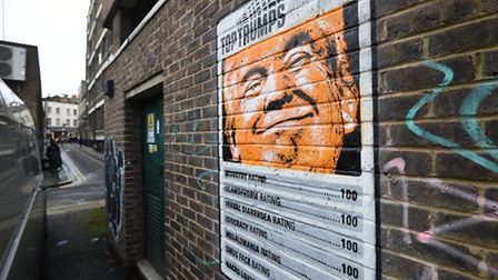 This 'Top Trump' graffiti has appeared in Shoreditch. Picture: Kirsty O'Connor/PA