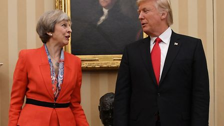 Theresa May meeting US President Donald Trump in the Oval Office. Mr Trump's state visit to the UK w