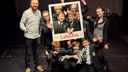 Jonathan Milton and Ginny Smith with children from St Felix School at LabLive. Picture: SARAH LUCY