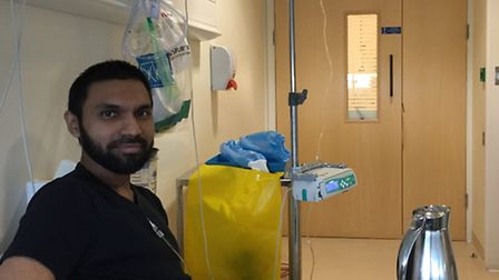 Mo Haque receiving his first round of immunotherapy at University College Hospital