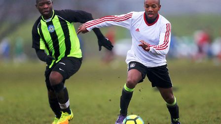 Action from the Hackney & Leyton League as FC Stepney (white) beat Eagle 4-1. Pic: Dave Simpson/TGS
