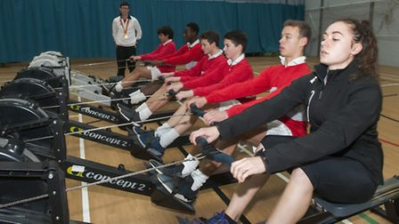 Rowing team at Mossbourne Community Academy. chief coach, Paralympic gold medal winner Oliver James