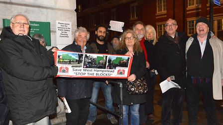 West Hampstead Stop The Blocks campaigners outside the committee meeting at Camden Town Hall last ni