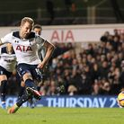 Harry Kane scores the decisive goal from the penalty spot. Picture: PA