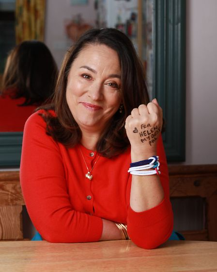Arabella Weir is wearing a unity band in support of World Cancer Day