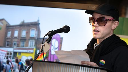 Stik speaking at the reception to launch LGBTQ history month. Photo: Gary Manhine/Hackney Council