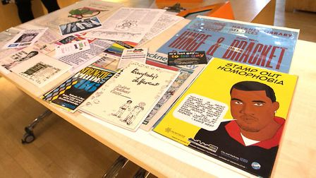 LGBTQ history month memorabilia. Photo: Gary Manhine/Hackney Council