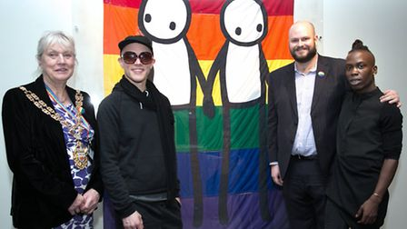 Speaker Rosemary Sales, Stik, Hackney Mayor Philip Glanville and artist I'm Empire at the launch of