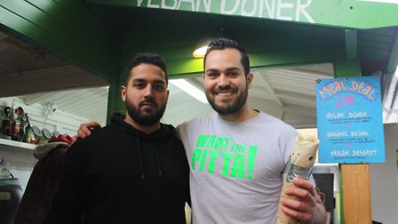 Roj Gul and Cem Yildiz in front of their stall in Shoreditch High Street. Picture: Alahna Kindred