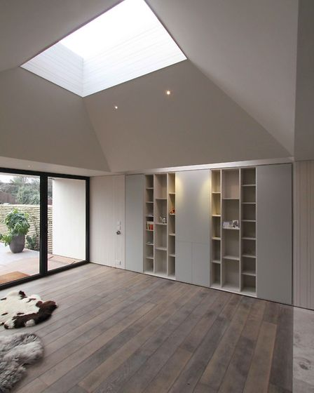 A folded roof adds visual interest and lets daylight into the space