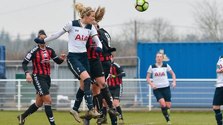 Wendy Martin heads home her, and Tottenham Ladies', second in the 2-0 win over Lewes. Picture: WUSPH