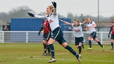 Wendy Martin celebrates as Tottenham Ladies secure a 2-0 win over Lewes. Picture: WUSPHOTOGRAPHY.COM