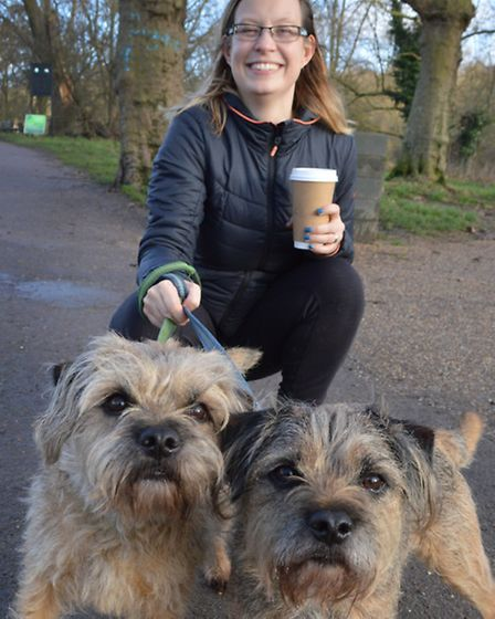 Emma Tudge with Baxter and Sprocket. Picture: Polly Hancock