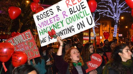 Sisters Uncut East End protest outside Hackney Town Hall on Valentines day 2017. They are calling on