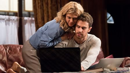 Emilia Fox and Theo James in Sex With Strangers at Hampstead Theatre. Picture: Manuel Harlan